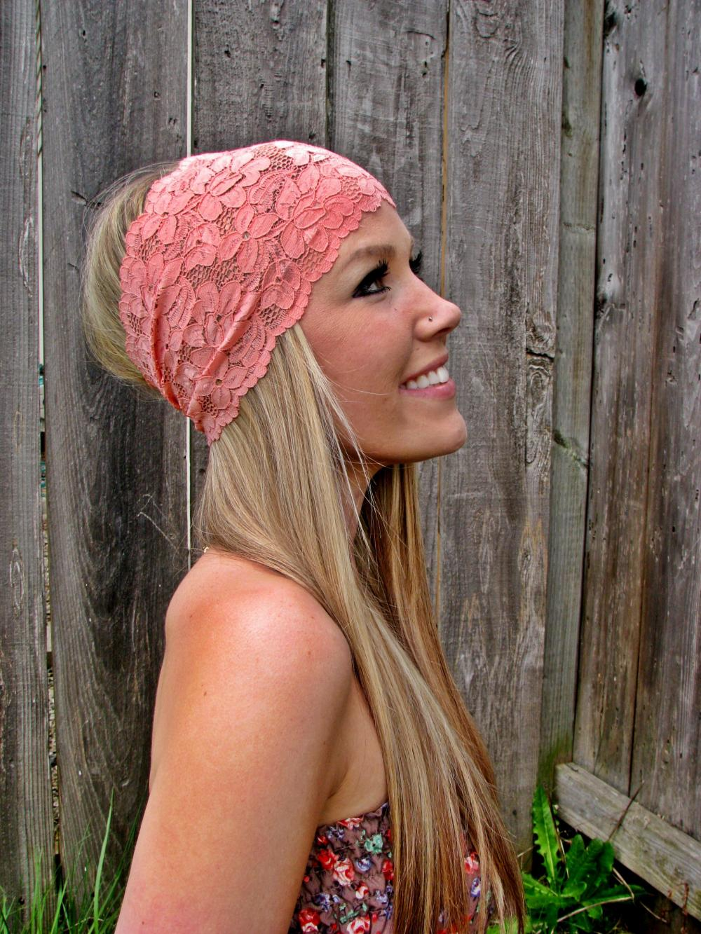 Wide Stretch Lace Headband in Coral (Pastel Peach)