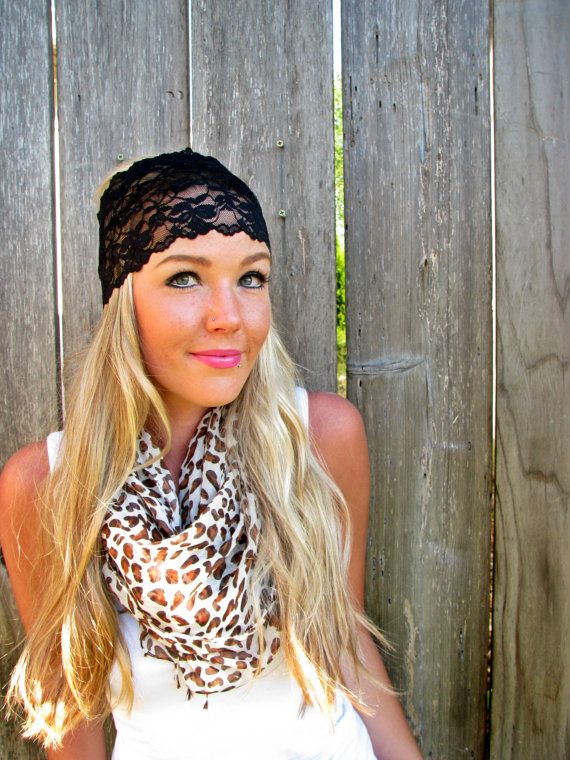 Wide Stretch Lace Headband in Black