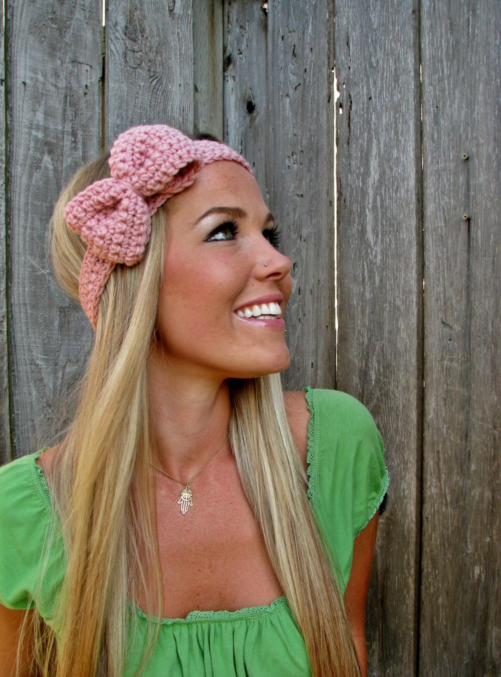Pale Pink Bow Headband with Natural Vegan Coconut Shell Buttons - Adjustable