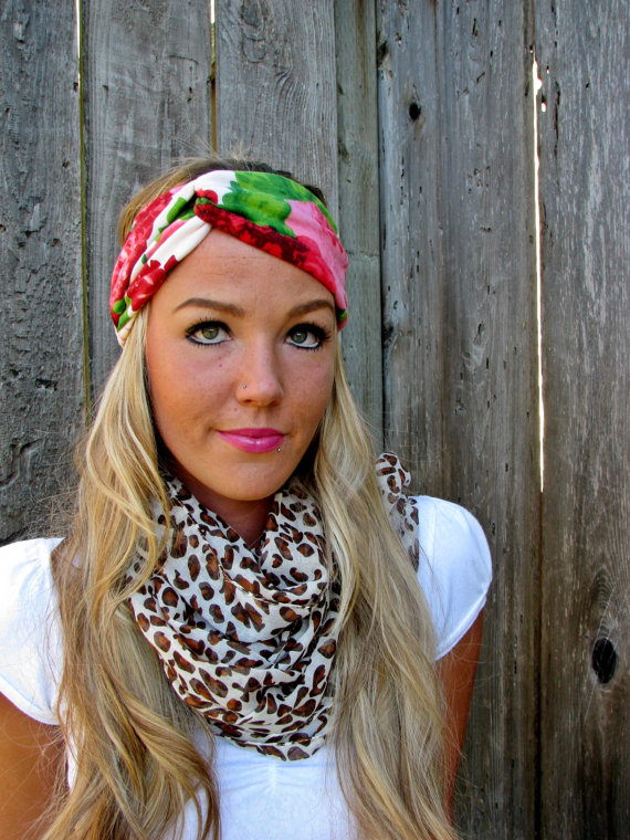 Vintage Turban Style Stretch Jersey Knit Headband in Floral