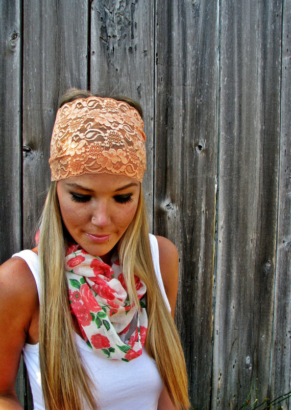 Wide Stretch Lace Headband in Peach (Soft Orange)