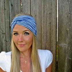 Vintage Turban Style Stretch Jersey Knit Headband in Nautical Blue Stripe- Multi Ways to Wear