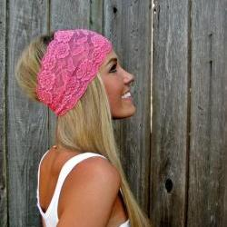 Wide Stretch Lace Headband in Bubblegum Pink